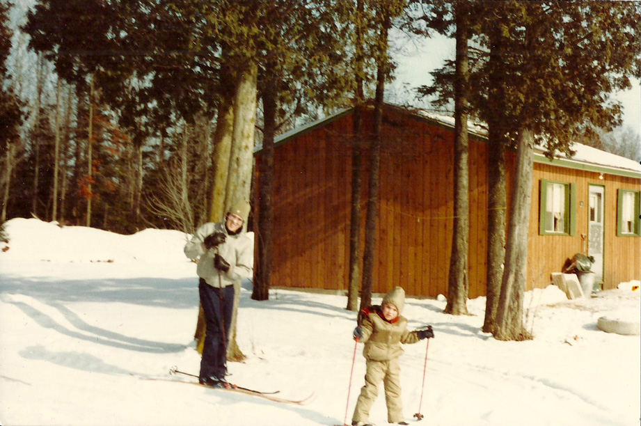 Mickael Casol and Father Luc, ski, Quebec, Canada, 1983