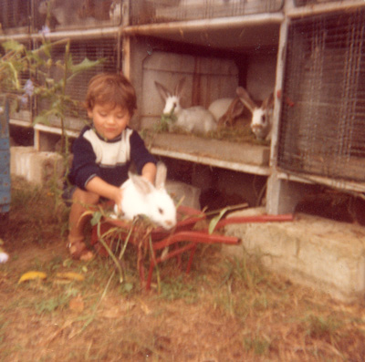 Mickael Casol and the rabbits at the family house in France.