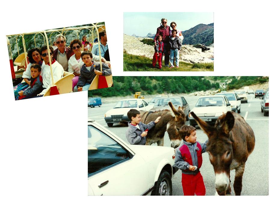 1986, Mickaël Casol, son frère Nicolas, leur parents et grands-parents, Espagne