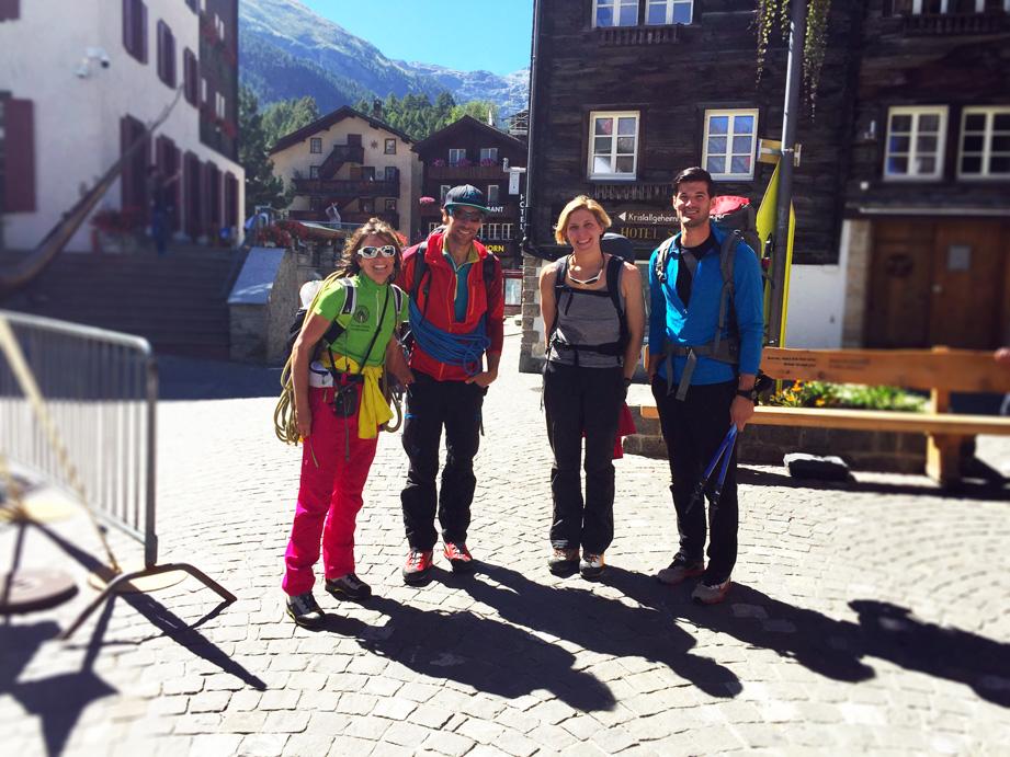 Zermatt, Suisse. De Gauche à Droite: Stéphanie Maureau, Guillaume Omont, Alina Zagaytova, Antoine Labranche