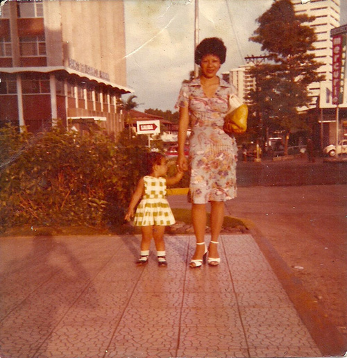 Noriko Emen, and her mother Dora, Panama, July 1978, Via Espana