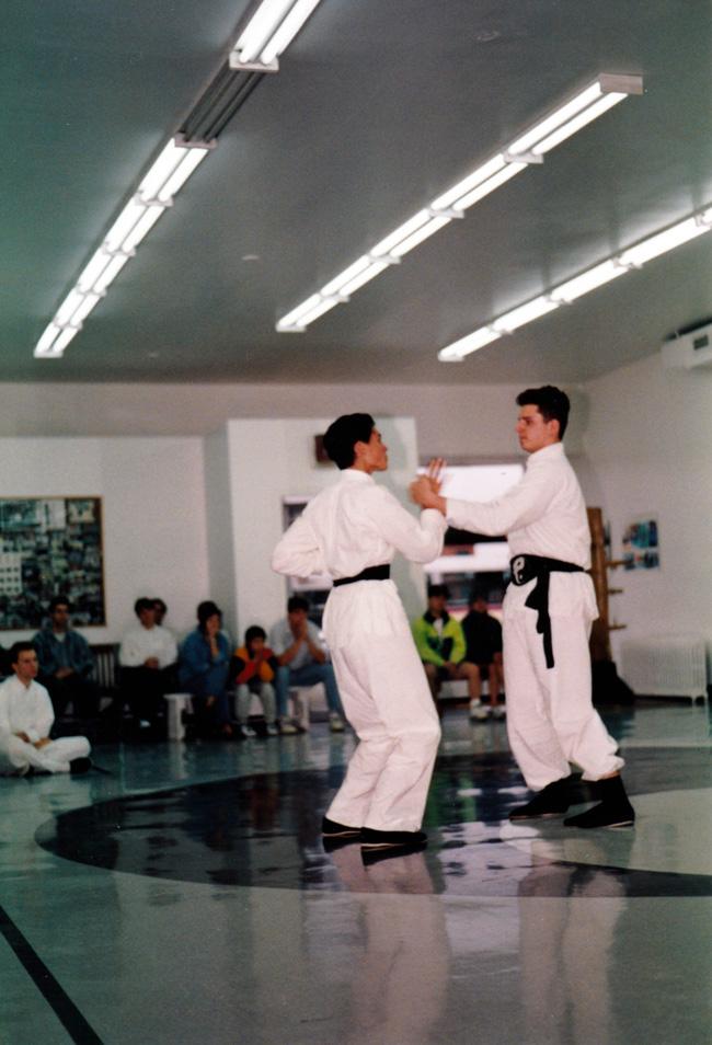 Mickaël Casol in 1995, Shaolin Wing Chun Nam Anh Kung Fu black belt 1st dan exam in Montreal, Canada.