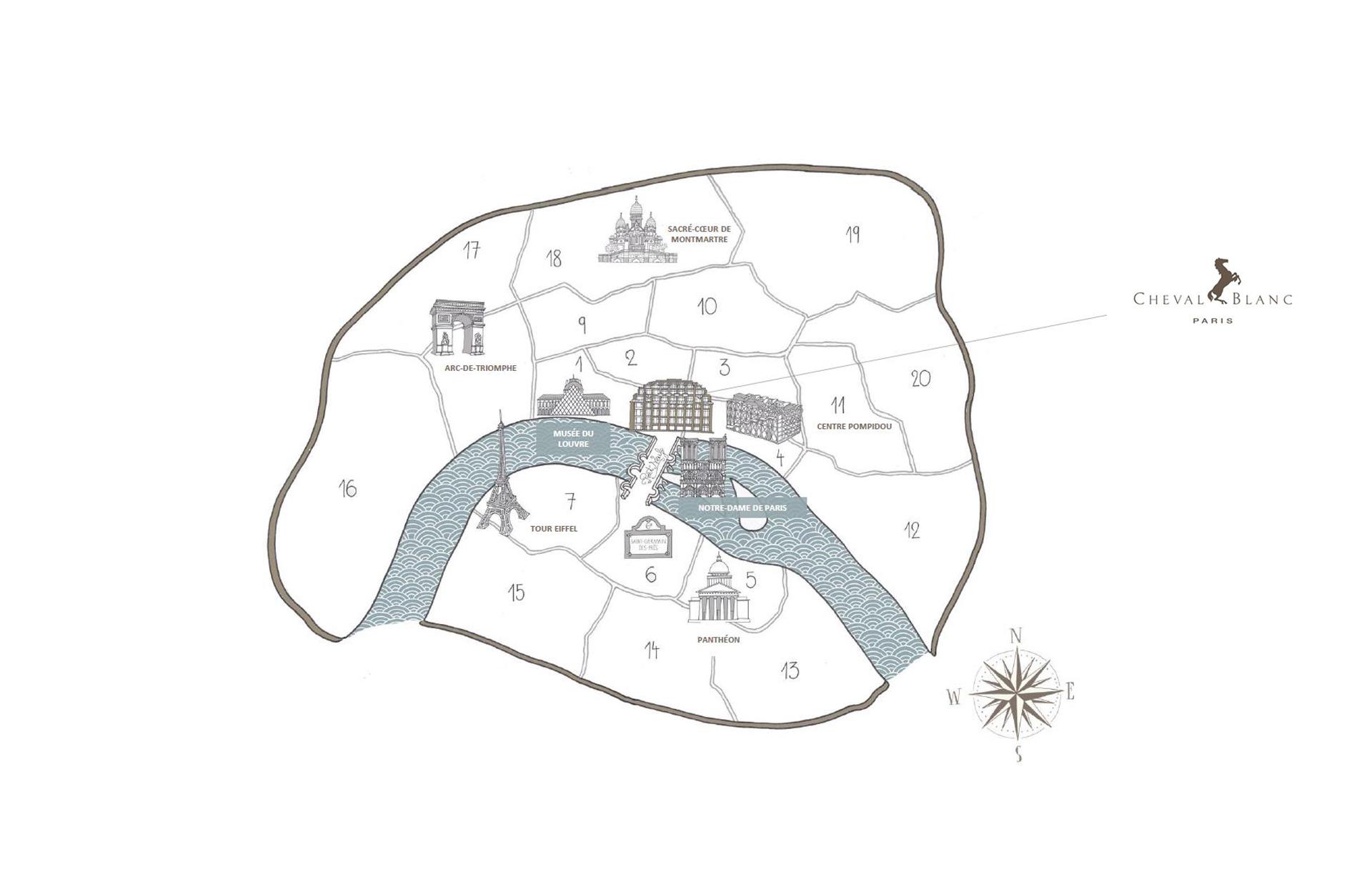 Cheval Blanc Paris, Hotel de Luxe France, Map Illustration, Casol